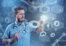 Innovative technologies in science and medicine. 3D illustration elements in collage. Innovative technologies in science and medicine in 3D illustration Stock Photo