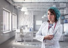 Innovative technologies in science and medicine. Female doctor Stock Image