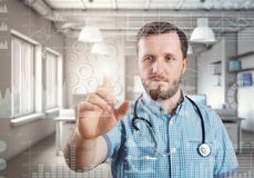 Innovative technologies in science and medicine. Male doctor Stock Photo