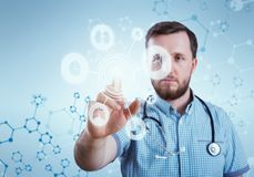 Innovative technologies in science and medicine. Male doctor Royalty Free Stock Images