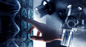 Innovative technologies in science and medicine . Mixed media Royalty Free Stock Photos