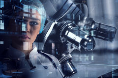 Innovative technologies in science and medicine. Mixed media. Portrait of attractive woman scientist in laboratory. Mixed media Royalty Free Stock Photo