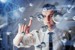Innovative technologies in science and medicine. Technology to connect. The concept of security.  Royalty Free Stock Photo