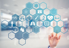 Innovative technologies for science and medicine in use by femal Royalty Free Stock Photo
