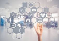 Innovative technologies for science and medicine in use by femal Royalty Free Stock Image