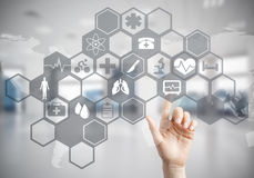 Innovative technologies for science and medicine in use by femal Stock Photos