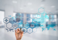 Innovative technologies for science and medicine in use by female doctor or scientist Stock Images