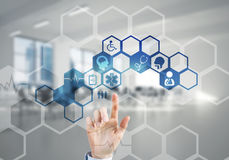 Innovative technologies for science and medicine in use by female doctor or scientist Royalty Free Stock Image