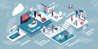 Innovative technology and lifestyle infographic. People using touch screen interfaces, virtual reality and robots stock illustration