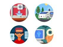 Innovative technology set icons Royalty Free Stock Photography