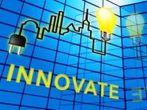 Innovative Word Represents Creative Breakthrough 3d Illustration. Innovative Word Lightbulb Represents Creative Breakthrough 3d Illustration Stock Photos