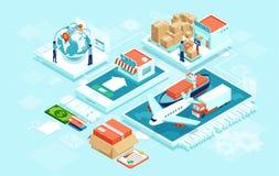Innovative zeitgenössische intelligente Industrie: on-line-Auftrag, automatisiertes Lieferungslogistiknetz lizenzfreie abbildung