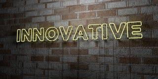 INNOVATIVT - Glödande neontecken på stenhuggeriarbeteväggen - 3D framförde den fria materielillustrationen för royalty vektor illustrationer