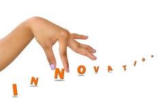 Innovazione di parola e della mano Fotografie Stock
