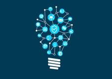Innovazione nella sicurezza dell'IT e protezione di tecnologia dell'informazione in un mondo dei dispositivi collegati Fotografia Stock