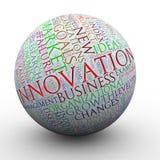 Innowacj słowa oznaczają piłkę Fotografia Royalty Free