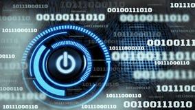 Innowacja cyfrowych dane binarnego kodu t?a futurystyczna technologia z hologram zmian? na ikonie, poj?cie du?y utrzymywa? ilustracji