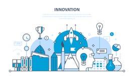 Innowacja, kreatywnie główkowanie, proces, brainstorming, wyobraźnia i wzrok, badanie ilustracja wektor