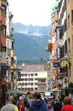 Innsbrück street. The Golden Roof as seen from along the pedestrian Herzog-Friedrich Street  in Innsbruck, Austria Stock Photography