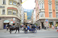 Innsbrück street - sightseeing tour. City Of The Innsbruck,Austria - observation carriage rides Royalty Free Stock Image