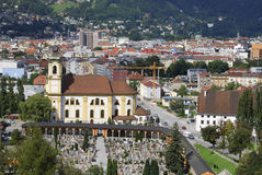 Innsbruck. View over Innsbruck and the Karwendel mountains (Austria Royalty Free Stock Images