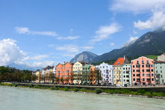 Innsbruck. Colorful houses on a riverside, Innsbruck, Austria Stock Images