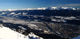 Innsbruck. A panoramatic view of the Innsbruck city royalty free stock photo