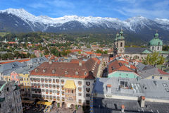 Innsbruck aerial, Austria. Wide angle view of Innsbruck from the Stadtturm, towards the north with both the Golden Roof (Goldenes Dachl) below and Innsbruck Stock Photography
