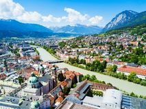 Innsbruck aerial view, Austria. Inns river and Innsbruck city centre aerial panoramic view. Innsbruck is the capital city of Tyrol in western Austria stock images