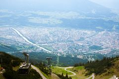 Innsbruck aerial view. From Hafelekarspitze mountain. Innsbruck from the top. Austria landmark river tyrol alps architecture background bridge cable car city royalty free stock photos