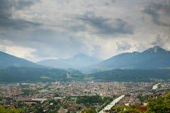 Innsbruck aerial view. Inn river. Innsbruck aerial view from Hafelekarspitze mountain. Innsbruck from the top. Austria landmark river tyrol alps architecture stock images