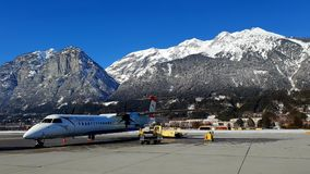Innsbruck Airport aircraft royalty free stock images