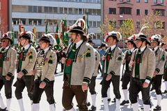 INNSBRUCK, AUSTRIA - APRIL, 21, 2012: People in tirol traditiona Stock Photos