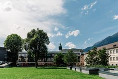 Campus of the University of Innsbruck. Innsbruck, Austria - August 9, 2017: Campus of the University of Innsbruck. VS Innere Stadt Innsbruck Royalty Free Stock Images