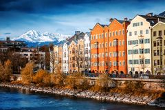 Innsbruck, Austria, the capital of South Tyrol, a beautiful autumn cityscape, a city in the Alps royalty free stock photography