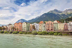 Innsbruck, Austria. Colorful houses on a riverside, Innsbruck, Austria Royalty Free Stock Image