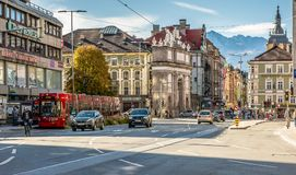Innsbruck, Austria :distinctive red tram that runs through the city. Innsbruck, Austria - Europe : distinctive red tram that runs through the city Royalty Free Stock Photos