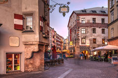 Innsbruck, Austria. Evening scene in central Innsbruck, Austria. The scene is captured along the famous Herzog-Friedrich featuring some of the historical houses royalty free stock image