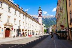 Servitenkirche catholic church, Innsbruck. INNSBRUCK, AUSTRIA - MAY 22, 2017: Servitenkirche is the Roman catholic church located in Altstadt Old Town of Stock Photo