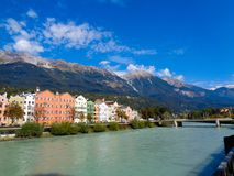 Innsbruck in Austria with the river stock image