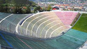Innsbruck, Austria. The stadium of the ski jumping hill tower and the track. It can hold 28,000 spectators royalty free stock photo