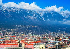 Innsbruck, Austria. View over roofs of Innsbruck, Austria to the Alps Mountains Stock Photography