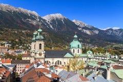 Innsbruck beskådar över staden, Tyrol Arkivbild