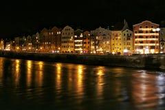 Innsbruck bij nacht Stock Afbeelding