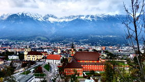 Innsbruck: The capital of Alps. The panoramic view from Innsbruck Panorama viewpoint in Tirol, Austria Royalty Free Stock Photo