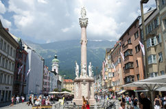Innsbruck city. INNSBRUCK, AUSTRIA - JUL 20: St Anne Column (Annasaule) is a statue of the Virgin Mary in Maria-Theresien Street and one of its most famous Royalty Free Stock Photos