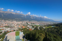 Innsbruck city and the Bergisel Ski Jump tower, Austria Stock Photos