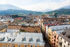 Innsbruck city center aerial view. Old town view from clock tower austria tyrol alps balcony blue sky cityscape europa high land landmark main square street royalty free stock photos