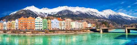 Innsbruck city center with beautiful houses, Austria Stock Image