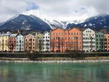 Innsbruck city near Austrian Alps. River flowing through Innsbruck city near Austrian Alps Stock Image